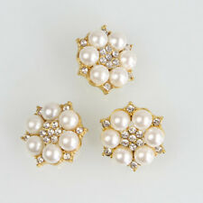 5 Pcs Clear Rhinestone Flower Fuax Pearl Shank Buttons Silver /Gold Sewing Craft
