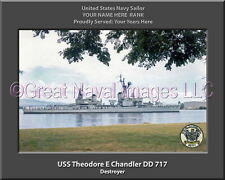USS Theodore E Chandler DD 717 Personalized Canvas Ship Photo Print Navy Veteran