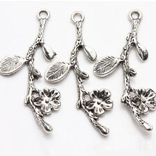 5/10Pcs Tibetan Silver Plated Carved Dendritic With Flower Charm Pendant 41*18mm