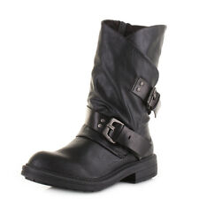 Womens Blowfish Forta Black Old Saddle Wide Calf Biker Casual Boots Size