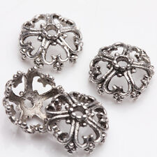 15/30Pcs Tibetan Silver Plated Flower Shape Spacer Hollow Bead Caps DIY 12*6mm