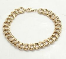 5.7gr Double Link Charm Bracelet Real 14K Yellow Gold FREE SHIPPING