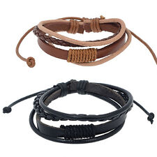 Women Men Faux Leather Bracelet Multi-layer Knitting Bangle Wristband Attractive