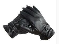 Luxury Mens PU Leather Winter Warm Gloves Driving Cashmere Gloves Black перчатки
