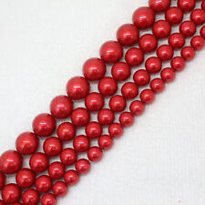 8-14mm Deep Red shell Bead mother Pearl Round DIY Jewelry Making Loose Beads 15""