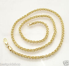 "3.3mm All Shiny Round Spiga Wheat Chain Necklace REAL 14K Yellow Gold 18"" 24"""