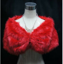 New Red/Ivory Faux Fur Warm Shawl Wedding Bridal Wrap Shrug Bolero Jacket Coat