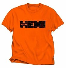 DODGE HEMI 426 DISTRESSED LOGO MEN'S ORANGE 100% PRE-SHRUNK COTTON TEE SHIRT