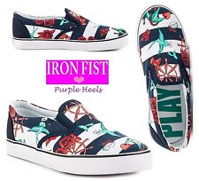 IRON Fist lei vende Blu Navy + bianco Sailor Mocassini estate 15 UK4-8 EU37-41