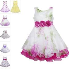 Flower Girl Dress Tulle Bridal Lace with Flower Detailing Wedding Age 4-14 Kids