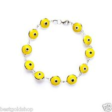 Yellow Greek Mati Evil Eye Bead Charm Bracelet Genuine 925 Sterling Silver