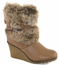 Ladies Womens Mid Wedge Zip Mid Calf Winter Riding Ankle Fur Boots Shoe Size 4-7