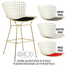 Wire Barstool with Seat Pad Wireback Barstool Modern Mid Century Mesh Stool Gold