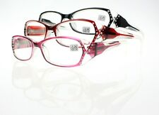 3 Colors Rhinestone Translucent Frame Clear Lens Reading Glasses 1.0~4.0 New