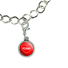 Silver Plated Bracelet with Antiqued Charm I Love Heart Sports Hobbies O-Q