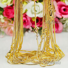Fashion Women Men 18K Yellow Gold Plated Snake Chain Necklace Jewelry 16-30inch