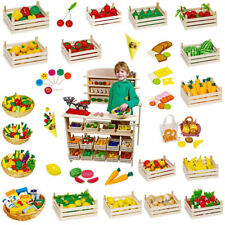 Play Shop Wooden Food Childrens Play Kitchen Accessories Toy Shop Supermarket