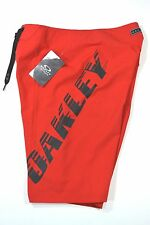 "NWT OAKLEY Transport BOARDSHORT Red Line 23"" Long MENS 30 31 32 Lined Swim Trun"
