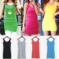 Candy Color Women Sleeveless Stretch Mini Dress Causal Bodycon Vest Sundress