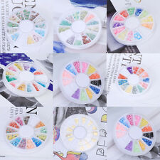 8 Styles Pick Mixed 3D Nail Art Tips Glitters FIMO Slice Rhinestones Beads Wheel
