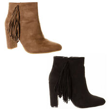 Women's Fringed Tassel High Heeled Ankle Boots Ladies Suede Shoes Footwear