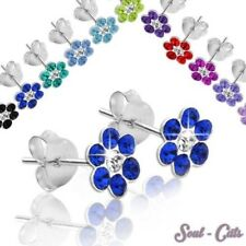2 earrings 925 sterling silver flower red white green blue pink children
