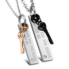 His and Hers Stainless Steel Love Symbol Key Engraved Pendant Couples Necklace