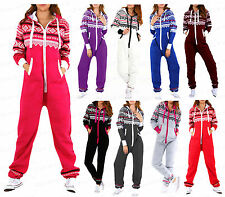 Womens Ladies NEW Aztec Printed Hooded One piece Zip Up  play-suit  S-5XL