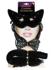 Halloween Sexy Black Cat 3 pc Kit Set Mask Tail Sequin Bow Tie Costume