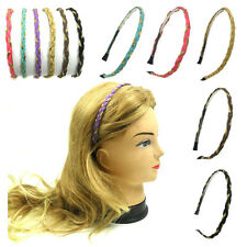 Fashion Women Girls Faux Leather Braided Gold Chain Headband Hairband