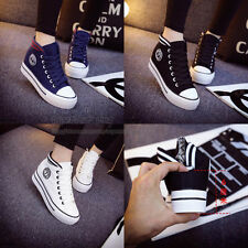 New Korean Women's High-top Lace-up Platform Casual Canvas Sneakers Shoes A87