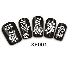 3D Nail Stickers White Flower Diamond Fashion Finger Toe Decals Thousands Styles