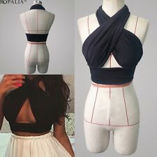 Women CROSS OVER Bust SEXY STRETCH BANDAGE Sexy CROP TOP BRALET BUSTIER SHIRT