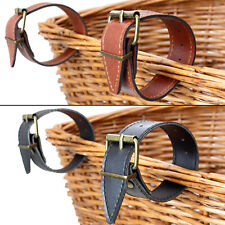 """PEDALPRO LEATHER BICYCLE BASKET STRAPS 9.5"""" INCH BIKE/CYCLE/HANDLEBARS PAIR/SET"""