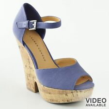 NIB~LAUREN CONRAD Cork Wedge Peep-Toe  Sandals~Periwinkle Blue~$70~Size 10