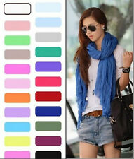 New Womens Girls Soft Crinkle Long Pure Candy Scarf Wrap Shawl Stole Sunscreen