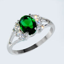 Womens Jewelry Sz 7 Zirconia Emerald Gem Engagement Ring WHite Gold Filled Gift