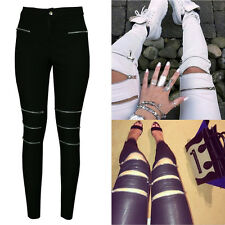 Hot Sexy Lady Jeans Slim Skinny Stretchy Zipper Ripped Soft Tights Long Pants