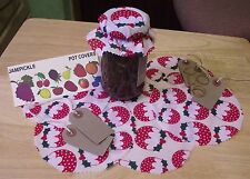 CHRISTMAS PUDDINGS FABRIC JAM JAR POT COVERS WITH PINKED EDGES+LABELS+BANDS
