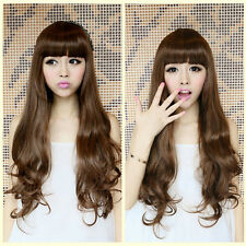 Fashion Lolita Wave Curly Long Hair Wigs Sexy Synthetic Hair Full Wigs +Free Cap