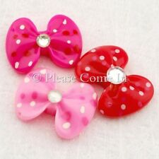 Kawaii Flatback Polkadot Bow with Rhinestone Resin Cabochon Decoden Charm