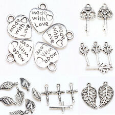 DIY 25/50pcs New Tibet Silver Metal Loose Spacer Charm Pendants Jewelry Findings