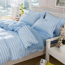 Blue Strip Single Double Queen King Size Bed Set Pillowcases Quilt Duvet Cover