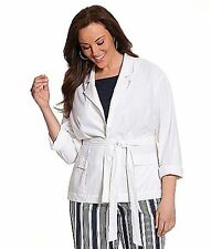 Lane Bryant White Stretch Linen Belted Blazer Jacket sizes 14-28 Overpiece