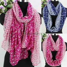 Fashion Womens All Over Birds Print Color Stitching Soft Long/Infinity Scarf New