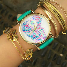 Women's New Fashion Elephant Pattern Faux Leather Band Quartz Analog Wrist Watch