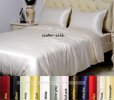 19Momme 100% Pure Silk Quilt Doona Cover Fitted Sheet Flat Sheet Set Single Size