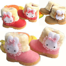 Baby Girls Snow Boots Lovely Rabbit Infant Toddler Winter Fur Warm Shoes 10 Size