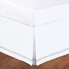 "Silver Baratta Stitch on White Tailored Microfiber 14"" Bedskirt, Tailored Pleat"