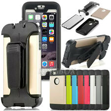 Heavy Duty Hybrid Armor Case Cover + Screen Flim + Belt Clip For iPhone Series